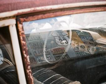 Digital Download Route 66 Abandoned Car Window Reflections Film Photo, Wall Art, Ready to Print, Fine Art, Arizona