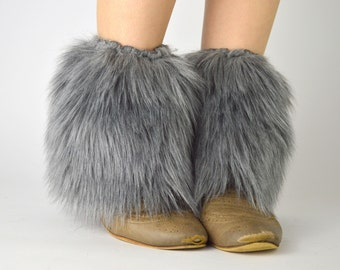 Gray Fur Ankle Boot Covers FREE SHIPPING - Grey Fur