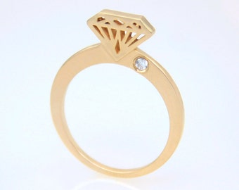 Diamond shape ring, 14K solid gold diamond shaped ring with diamond studded, Diamond silhouette, Diamond shape ring, Diamond