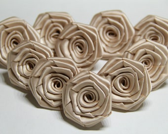 10 Handmade Double Faced Satin Ribbon Roses In Champagne(1.5 inches). Ready To Ship.