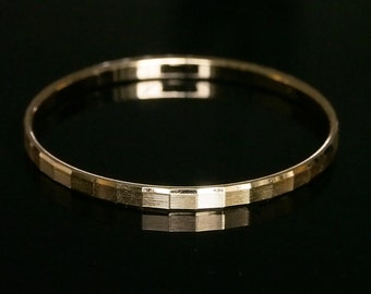 Monet Bangle Bracelet Vintage Gold Tone Textured Modern Classic Signed