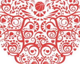 Basketball Heart SVG DXF Cutting Files
