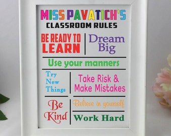 Personalised Teacher Classroom Rules Tile Frame
