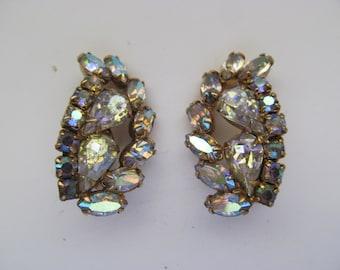 Vintage Clear Rhinestone Earrings - Clip On
