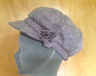 Ladies Newsboys Cap Hat - 100% Tweed Wool - Donegal Tweed Hats - Womens Irish Bakerboy Hats -Herringbone Newsboy Cap - Plaid