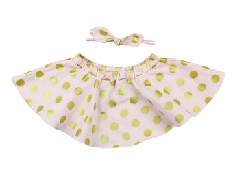 Pink and Gold Polka Dot Twirl Skirt, Circle Skirt for baby and toddler girls