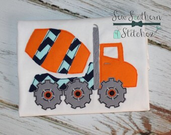 Raggedy Cement Truck Applique Design ~ Bean Finish ~ Quick Stitch ~ Instant Download