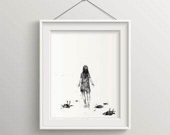 They Won't Believe Me, Minimalist Art, Girls Wall Art, Girl and Birds, Bedroom Decor , Surreal Art, Black and White Art, Acrylic Painting