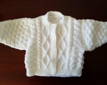Handmade White Baby Cardigan