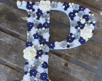 Floral letter navy blue/silver/white
