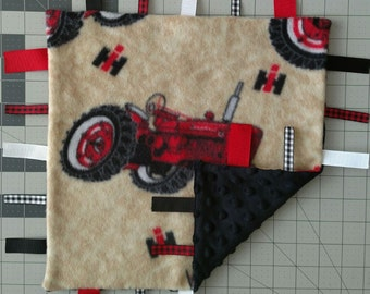 Case Tractor Infant Security Blanket with Ribbons