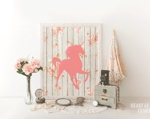 Unicorn printable art Unicorn wall art Pink unicorn print Unicorn nursery decor Floral nursery print Floral wall art Be a unicorn quote art