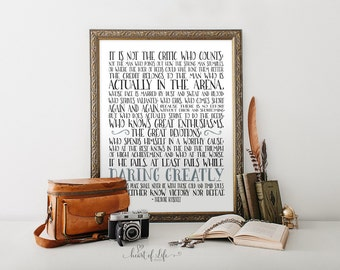 Printable art, Man in the arena quote, Theodore Roosevelt quote, Office quote, Inspirational quote, Typography print, HEART OF LIFE Design