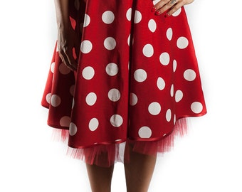 Red polka dot skirt with petticoat