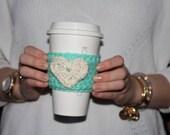 Heart Crochet Coffee Sleeve / Trendy Reusable Coffee Jacket / Crochet Beverage Insulator