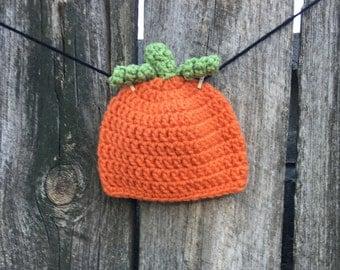 Pumpkin Baby Hat, Crocheted Baby Hat, Photo Prop, Baby Beanie