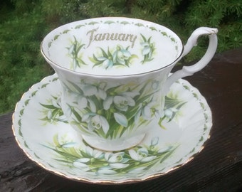 Royal Albert SNOWDROPS January Teacup & Saucer Set Flower of the Month Series Bone China