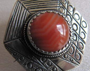 SALE!!! Vintage Arts and Crafts Antique Collectable Early 20th Century 1900's Hand Engraved Banded Onyx Agate Sterling Silver Brooch