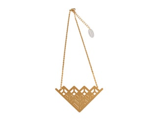 Necklace Edmée large geometric art deco brass gold