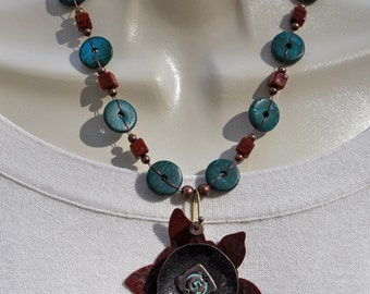 Antique Copper Flower Pendant Necklace and Earring Set