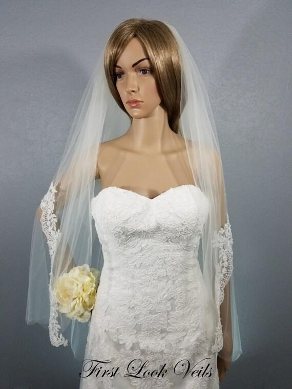 Ivory Wedding Veil Fingertip Lace Floral Peplum By FirstLookVeils