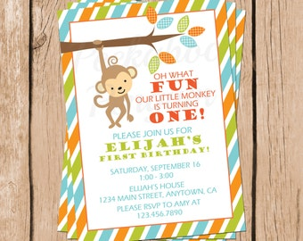 Monkey First Birthday Invitation, Boys Birthday Invite, Printable Invitation, Birthday Party Invite, Jungle Birthday Invitation, Digital