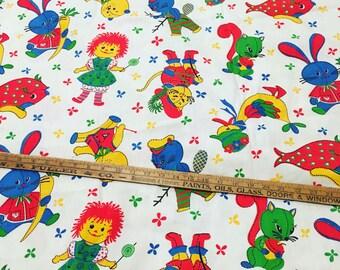 3 Yards Vintage Kitschy Animal Raggedy Ann Novelty Fabric Yardage