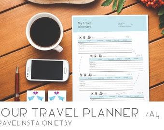 Instant Download Travel Planner - Travel Diary - A4 planner printable - 10 pages traveler's notebook
