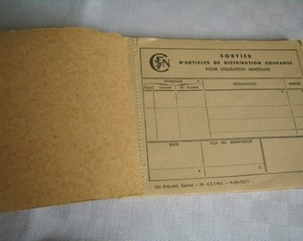 Book of receipts, tickets, SNCF Vintage, Notepad industrial, retro, Vintage Notebook, nostalgic book, industrial office, 1964