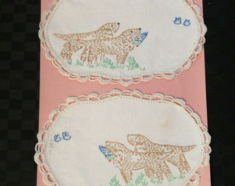 Pair of Hand Embroidered and Crochet Doylies, Depicting a Hunting Scene.