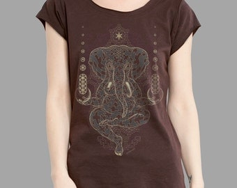 Hindu Shirt, Ganesha T-shirt, Screen Printed Glow in the Dark Cotton T-shirt, Psychedelic Apparel, Sacred Geometry Shirt.