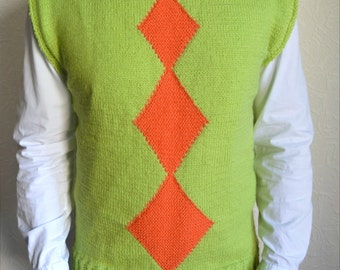 Hand knitted men's vest