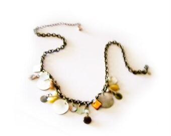 Boho Hippie Gypsy Cluster Bib Necklace - Abalone - SALE