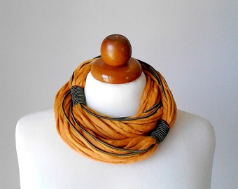Festival clothing scarf necklace scarf yellow necklace multi strand necklace eco friendly jewelry wrap necklace fiber necklace gift for her