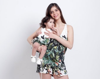 Jumpsuits ,mother daughter matching dress,Pack of two Jumpsuits,Mommy and me Wrap jumpsuit,mommy and me clothing,Printed set.