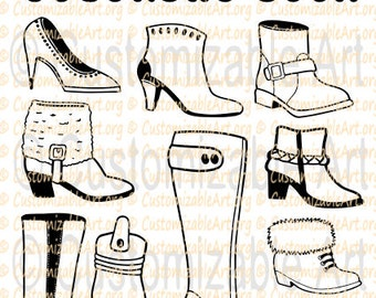 Printable Coloring Book PDF Womens Girls Shoes Boots Colouring Pages Footwear Style Sheets Party Favors