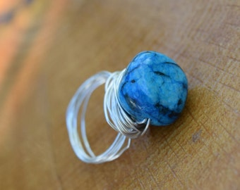 Wire Wrap Ring with Glass Bead