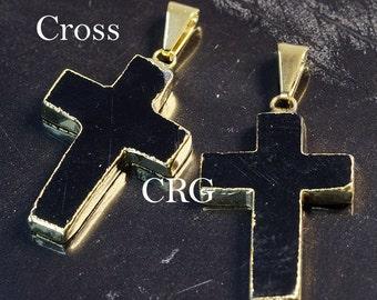 Gold Plated Polished Black Tourmaline Cross Pendant (CR10CN)