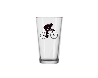 Bicycle Pint Glass, Cyclist Beer Glass, Bicycling Glasses, Cycling Pub Glass