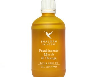 Frankincense, Myrrh & Orange Bath, Body and Massage Oil with Cedarwood, Jojoba, Vitamin E, Apricot Oil