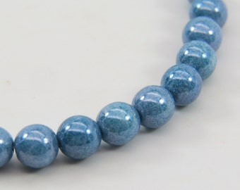 6mm Blue Denim Czech Glass Opaque Pressed Round Druk 40 Beads PPRDRUK003