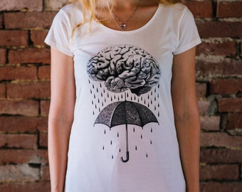 BRAINSTORM, Women's shirt, Human brain t-shirt, Human anatomy art, medical oddities shirt, steampunk clothing, vegan shirt, macabre oddities