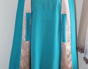 60s Cape Dress Set, Turquoise Dress, Long Sleeve, Size Large Cape Dress, Tailor Made