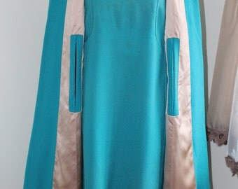 60's Cape Dress Set, Turquoise Dress, Long Sleeve, Size Large Cape Dress, Tailor Made