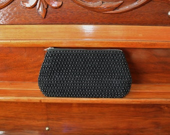 Black Change Purse, 60s Change Purse, Plastic Bead Wallet, Zipper Change Purse, Made in Hong Kong