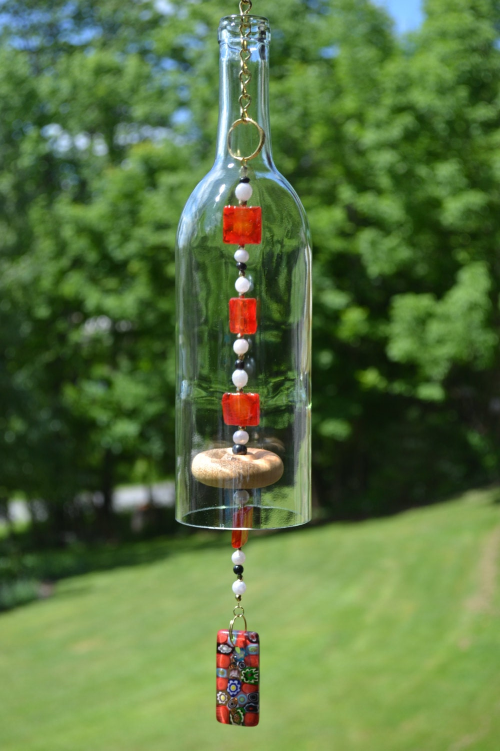 Wine bottle wind chime for Glass cutter to make glasses from bottles