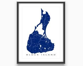 Block Island Map Print, Block Island Rhode Island Art, New Shoreham RI