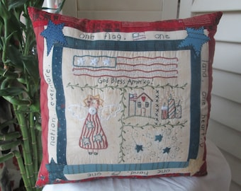 Patriotic Pillow -Patriotic Americana Sampler - Hand Embroidered Decorative Pillow - Americana Room Decor