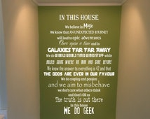 In this house we do Geek vinyl wall decal sticker art quote removeable transfer Starwars, Harry Potter, Doctor Who, family custom made