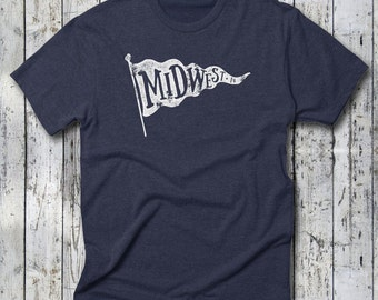 MIDWEST•IN by UnVeil Co. -- Midwest•IN Tee, Tri-Blend T-Shirt, Heather Navy & Tri-Coffee